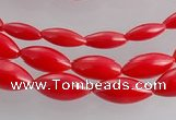 CCB14 5pcs 15.5 inches rice shape red coral beads Wholesale