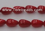 CCB143 15.5 inches 6*11mm teardrop red coral beads wholesale