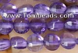 CCB531 15.5 inches 6mm faceted coin amethyst gemstone beads