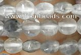 CCB533 15.5 inches 6mm faceted coin cloudy quartz beads