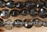CCB534 15.5 inches 6mm faceted coin smoky quartz beads