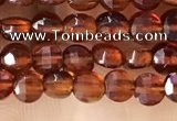 CCB536 15.5 inches 6mm faceted coin orange garnet beads wholesale