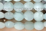 CCB552 15.5 inches 4mm faceted coin amazonite gemstone beads