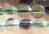 CCB605 15.5 inches 6mm faceted coin fluorite gemstone beads