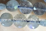 CCB607 15.5 inches 6mm faceted coin labradorite gemstone beads