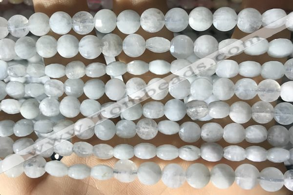 CCB616 15.5 inches 6mm faceted coin aquamarine gemstone beads