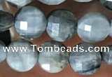 CCB627 15.5 inches 6mm faceted coin eagle eye jasper gemstone beads
