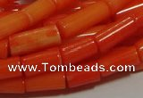 CCB83 15.5 inches 5*10mm column orange coral beads Wholesale