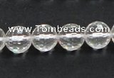 CCC210 15.5 inches 12mm faceted round grade AB natural white crystal beads
