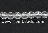 CCC242 15.5 inches 4mm faceted round AB grade natural white crystal beads