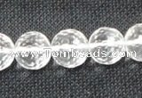 CCC255 15.5 inches 14mm faceted round grade A natural white crystal beads