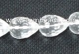 CCC263 15*20mm faceted teardrop grade A natural white crystal beads