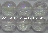 CCC413 15.5 inches 10mm faceted round AB-color white crystal beads