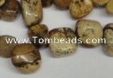 CCH331 15.5 inches 10*15mm picture jasper chips beads wholesale