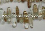 CCH340 15.5 inches 5*20mm gold sand quartz chips beads wholesale