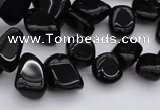 CCH640 15.5 inches 6*8mm - 10*14mm black agate chips beads