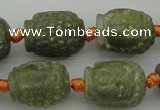 CCJ231 15.5 inches 13*18mm carved buddha China jade beads