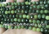 CCJ337 15.5 inches 6mm faceted round China green jade beads