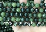 CCJ339 15.5 inches 10mm faceted round China green jade beads