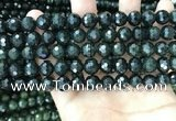 CCJ344 15.5 inches 8mm faceted round dark green jade beads