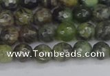 CCJ421 15.5 inches 6mm faceted round dendritic green jade beads