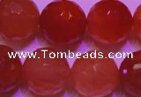 CCL55 15 inches 12mm faceted round carnelian gemstone beads