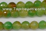 CCN1294 15.5 inches 10mm faceted round rainbow candy jade beads
