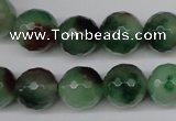 CCN1306 15.5 inches 14mm faceted round rainbow candy jade beads
