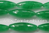 CCN1670 15.5 inches 10*30mm faceted rice candy jade beads wholesale