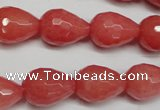 CCN2140 15.5 inches 12*16mm faceted teardrop candy jade beads