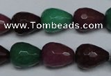 CCN2142 15.5 inches 12*16mm faceted teardrop candy jade beads