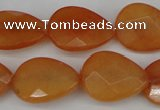 CCN2193 15.5 inches 15*20mm faceted flat teardrop candy jade beads