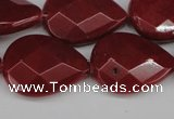 CCN2330 15.5 inches 18*25mm faceted flat teardrop candy jade beads