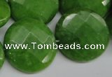 CCN262 15.5 inches 25mm faceted coin candy jade beads wholesale
