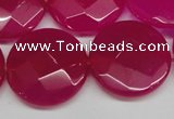 CCN270 15.5 inches 25mm faceted coin candy jade beads wholesale