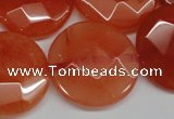 CCN271 15.5 inches 25mm faceted coin candy jade beads wholesale