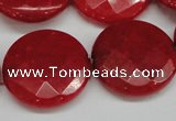 CCN272 15.5 inches 25mm faceted coin candy jade beads wholesale