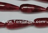 CCN2884 15.5 inches 10*30mm faceted teardrop candy jade beads