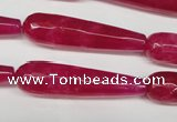 CCN2890 15.5 inches 10*40mm faceted teardrop candy jade beads