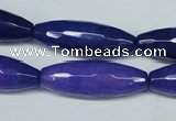 CCN2914 15.5 inches 10*30mm faceted rice candy jade beads