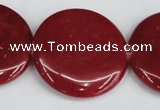 CCN3843 15.5 inches 30mm flat round candy jade beads wholesale