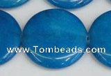 CCN3858 15.5 inches 35mm flat round candy jade beads wholesale