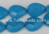 CCN386 15.5 inches 15*20mm faceted flat teardrop candy jade beads