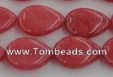 CCN3876 15.5 inches 15*20mm flat teardrop candy jade beads