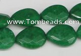 CCN388 15.5 inches 15*20mm faceted flat teardrop candy jade beads