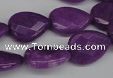 CCN390 15.5 inches 15*20mm faceted flat teardrop candy jade beads