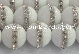 CCN4603 15.5 inches 12mm round candy jade with rhinestone beads