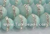 CCN4612 15.5 inches 10mm round candy jade with rhinestone beads