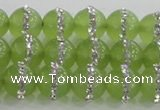 CCN4622 15.5 inches 10mm round candy jade with rhinestone beads