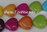 CCN727 15.5 inches 15*15mm heart candy jade beads wholesale